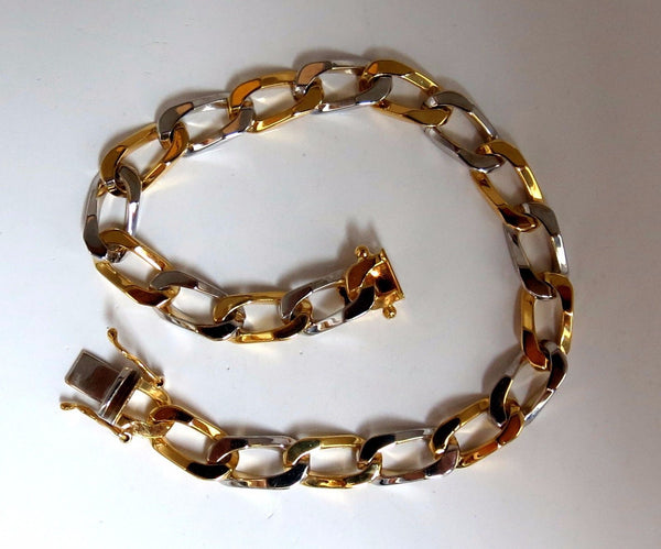 14kt. gold Elongated Curb Link High shine Bracelet 7.5 inch two toned