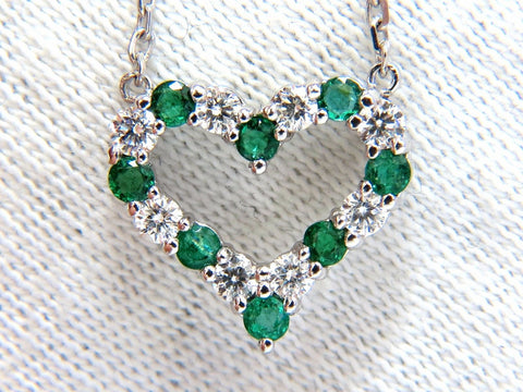 Natural Emeralds & Diamonds open heart necklace .90ct. 14kt G/Vs