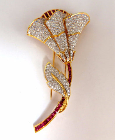 11.50ct Natural Ruby Diamond Brooch Pin 3D 18kt