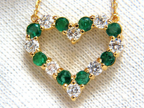 Natural Emeralds & Diamonds open heart necklace 1.84ct. 14kt G/Vs