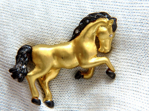 18kt Horse Pin .10ct diamonds