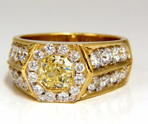 GIA Certified 2.95ct natural Fancy Yellow diamonds mens ring 18kt Hexagon Deck