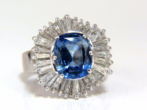 GIA Certified 6.46ct Natural No Heat Sapphire Diamonds Ballerina Ring 18kt