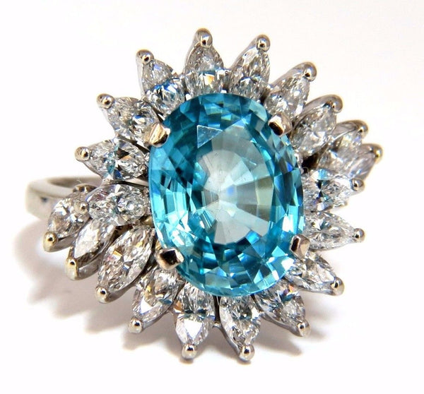 7.70ct Natural Indigo Blue zircon Diamonds Ring 18kt