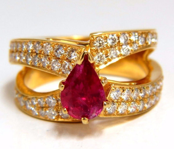 AIGS Certified 2.16ct Natural No Heat Ruby Diamonds ring 14kt SPlit Shank