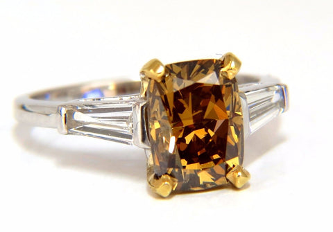 GIA Certified 2.59ct Fancy Yellow Brown Diamond Ring Platinum