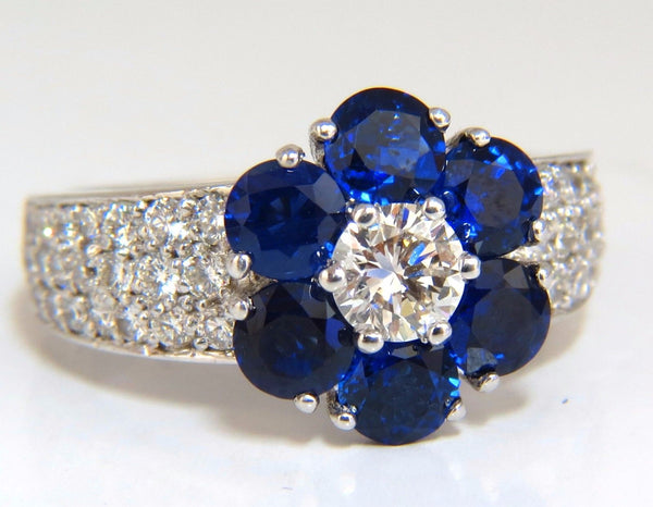 3.66ct natural sapphires diamond cluster ring 14kt royal blue floretta