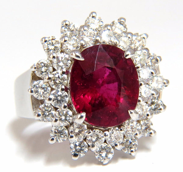 5.80ct natural Pinkish Red Tourmaline Diamond Ring 14kt. Double Halo