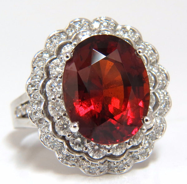 10.90ct Natural Hessonite Garnet Diamonds Ring 14kt Double Halo