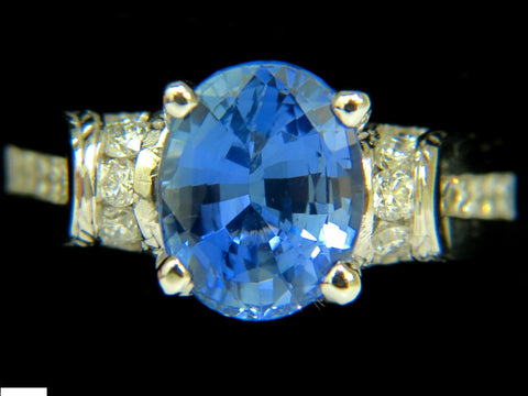 GIA NO HEAT 4.75CT NATURAL SAPPHIRE DIAMOND RING A+ CORNFLOWER UNHEATED