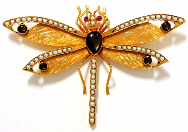 Dragonfly Important Art Deco 18kt natural pearls Blackstar brooch pin