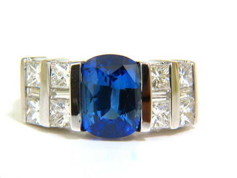 GIA 5.87CT NATURAL BRIGHT FINE GEM SAPPHIRE DIAMOND RING