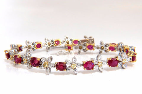 7.27ct Red natural ruby diamonds flower cluster tennis bracelet 18kt