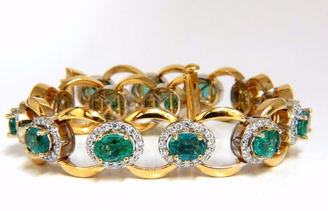 13.10ct Bright vivid green natural emerald diamonds cluster link bracelet 14kt