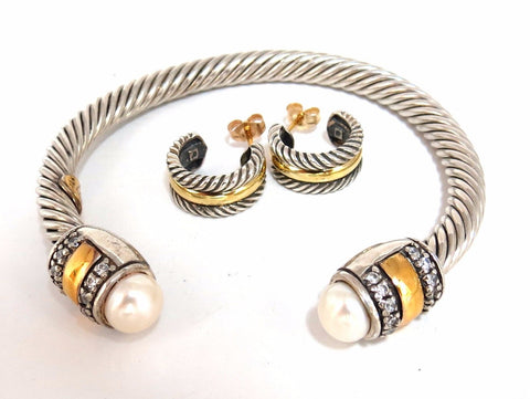 14kt. gold & silver Bangle / Earrings Suite