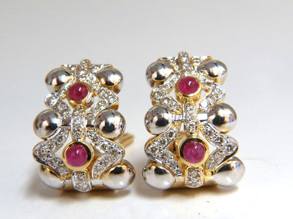 2.00ct natural ruby diamonds semi hoop clip earrings 14k