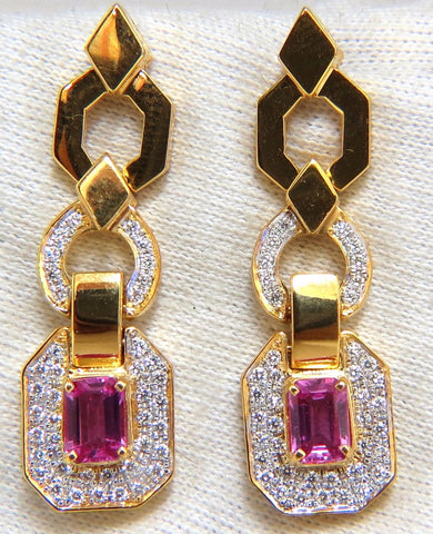 2.94ct Natural Pink Sapphire Diamond Dangle Earrings 14kt. Vivid Prime