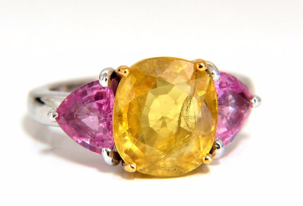 6.55ct Natural yellow sapphire ring 14kt.