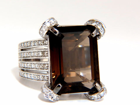 12.00ct Natural Prime Smokey Topaz Diamonds Ring 14kt