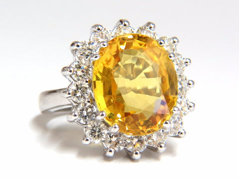 11.81ct Natural Yellow Sapphire diamonds ring 14kt Canary Bright