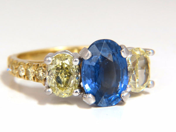 GIA Certified 5.42ct Natural No Heat Sapphire Yellow Diamonds Ring 18kt unheated