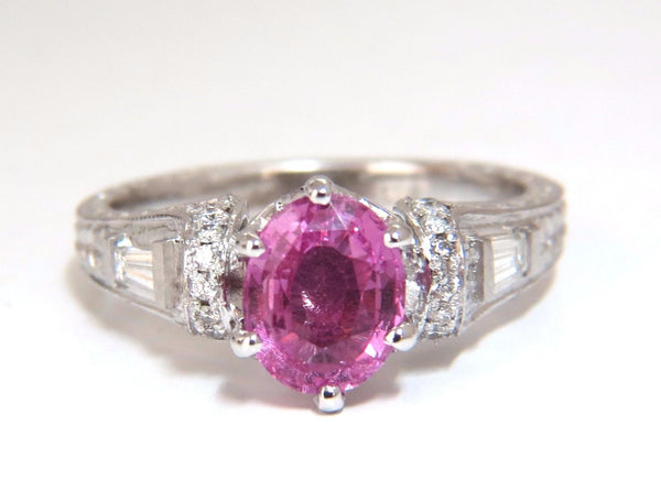 GIA Certified 1.90ct Natural No Heat Pink Sapphire Diamonds Ring 14kt