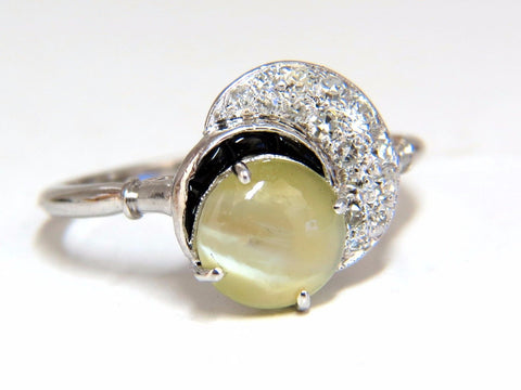 1.85ct natural cabochon chrysoberyl cats eye diamonds ring 14kt Vintage Crescent