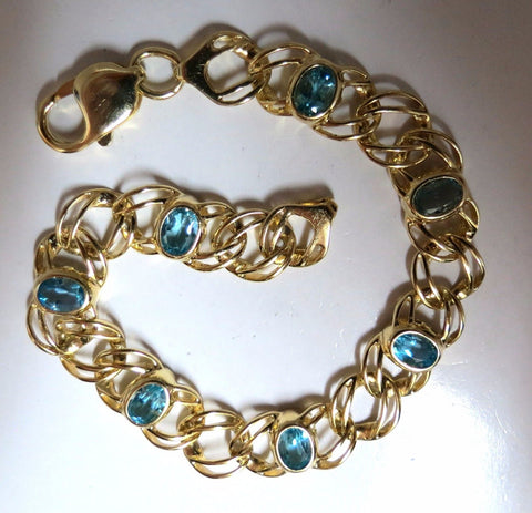 6ct Natural Swiss Blue Topaz bracelet 14k Vintage Deco