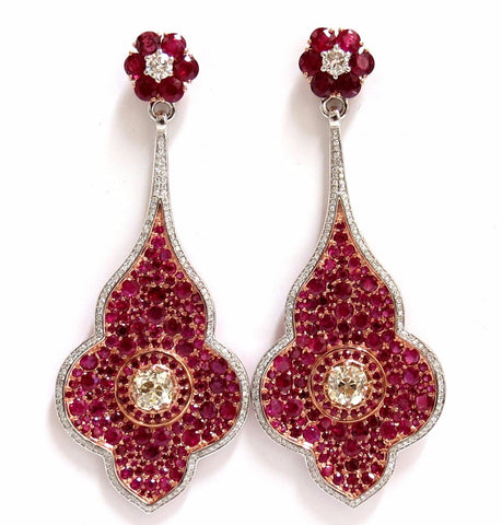 GIA Certified 35.27ct Natural Ruby Diamonds Dangle earrings 18kt Posh Priemeir