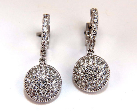 1.10ct natural diamonds dangle earrings 14kt circle dangles