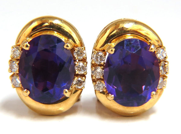 5.06 Natural Amethyst Diamonds Clip Earrings 18Kt