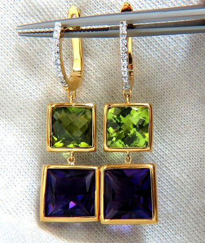 13.05ct Natural Amethyst Peridot Diamond Dangle earrings 14kt