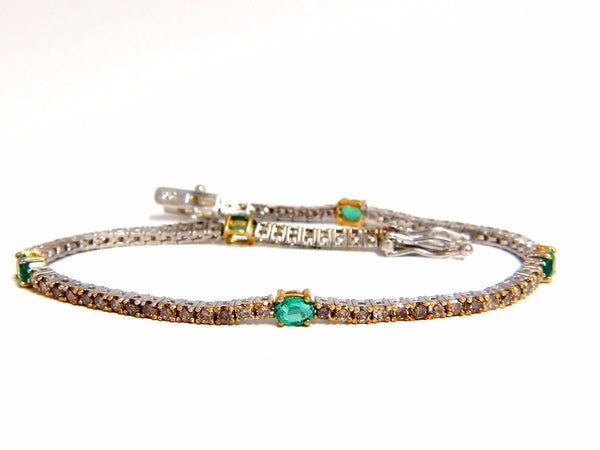 3.00ct green natural emeralds fancy color diamonds tennis bracelet 14k