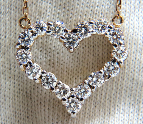 1.64ct diamonds open heart necklace 14kt g/vs