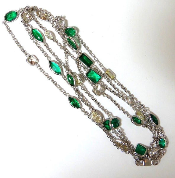 9ct natural emerald & diamond station link yard necklace 14kt / Double Wrap