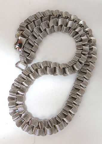 925 Sterling Silver 16 inch Reversible Coil Linked Necklace