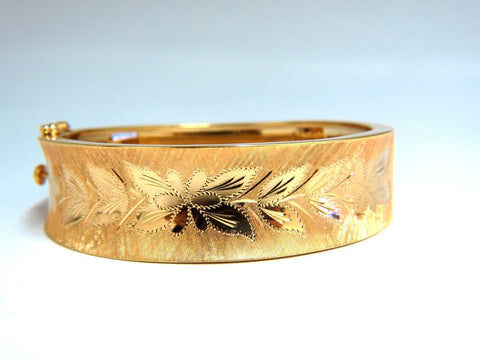 14kt. Gold Florentine Engraving Wide Bangle Bracelet