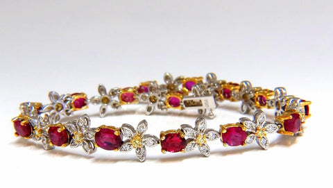 7.28ct Red natural ruby diamonds flower cluster tennis bracelet 18kt