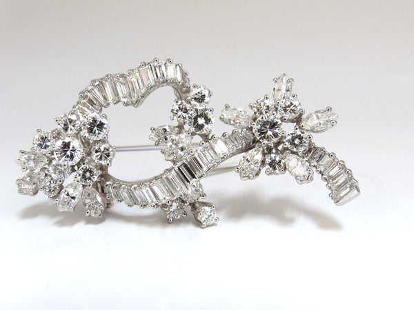 5.00ct Diamonds cluster brooch pendant pin Platinum Estate Cluster Cocktail