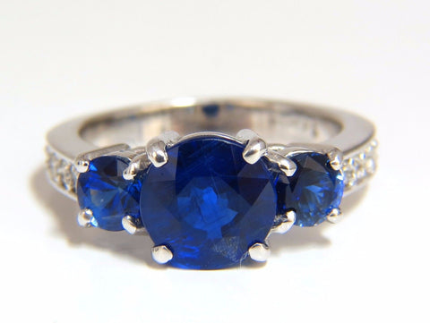 Natural Kyanite Sapphire diamonds ring 3.74ct. vivid blue 14kt