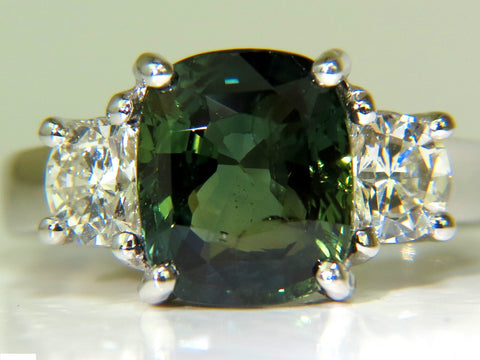 CERTIFIED 6.96CT NO HEAT NATURAL GREEN SAPPHIRE DIAMOND RING UNHEATED