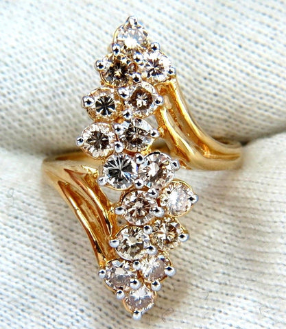 2.00ct Natural Lt Brown Diamonds Rounds Cocktail Prime Cluster ring 14kt