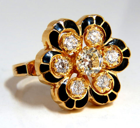 1.05ct Vintage Cluster diamonds ring 14kt Old Miner