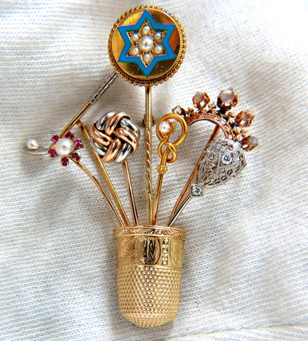 14kt Vintage Seamstress Thimble collection Pin