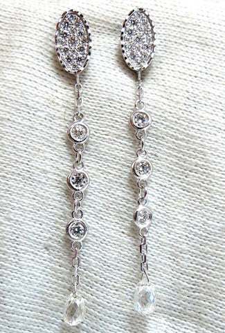 1.64ct Natural Briolette Diamonds Dangle Earrings 14kt