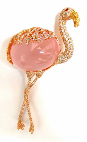 GIA 178ct Natural Rose Quartz Artisan Sexy Flamingo Brooch pin 18kt