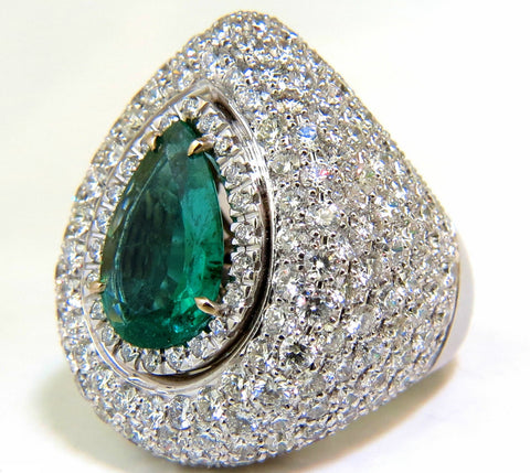 17.60CT 18K NATURAL FINE GREEN EMERALD DIAMOND 3D PUFFED DOME DECO RING