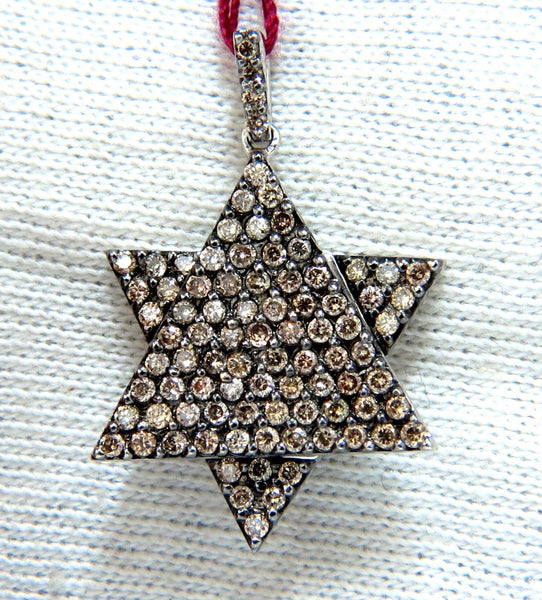 1.50ct natural fancy color diamonds convertible star / triangle pendant 14kt