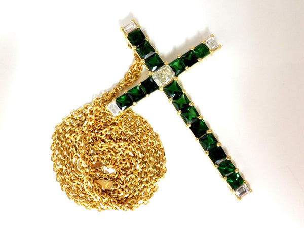 9.54ct natural diamonds & vivid green tsavorite cross 18kt & chain