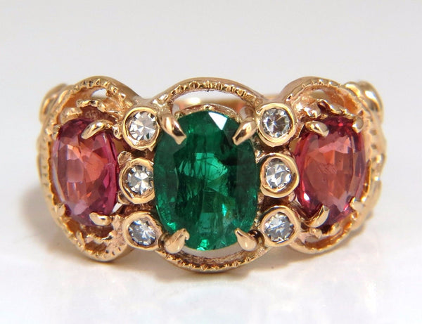 2.77ct natural Spinel Emerald ring three stone classic 14kt Mother ring